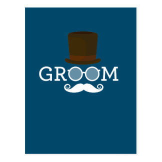 Funny Groom Mustache & Hat  for Bachelor's Party Postcard