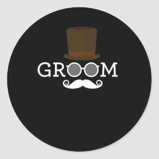Funny Groom Mustache & Hat  for Bachelor's Party Round Sticker