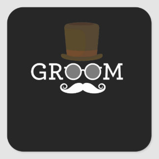 Funny Groom Mustache & Hat  for Bachelor's Party Square Sticker