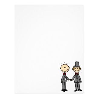 Funny Grooms Gay Marriage Cartoon Customized Letterhead