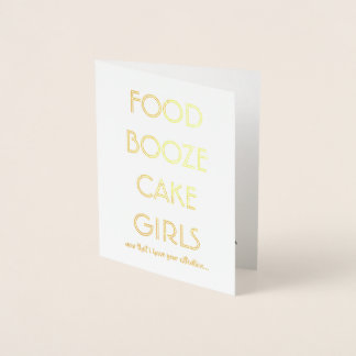Funny Groomsman or Best Man  FOOD BOOZE CAKE GIRLS Foil Card