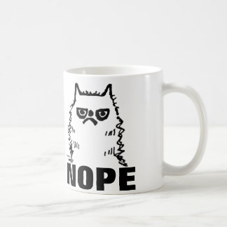 Funny Grumpy Cat Art Coffee Mugs, NOPE Classic White Coffee Mug