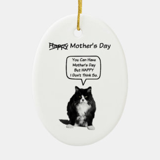 Funny Grumpy Cat Mother's Day Oval Ornament