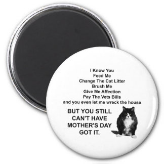 Funny Grumpy Cat Mother's Day Round Magnet