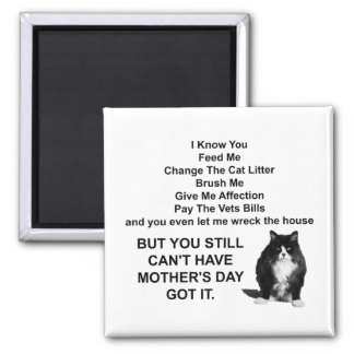 Funny Grumpy Cat Mother's Day Square Magnet