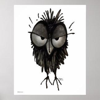 Funny Grumpy Owl Art Poster