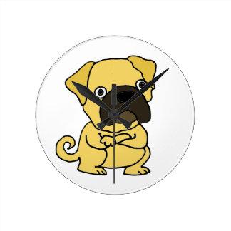 Funny Grumpy Pug Cartoon Wall Clock