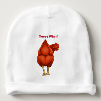 Funny Guess What Chicken Butt Red Hen Baby Beanie