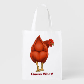 Funny Guess What Chicken Butt Red Hen Reusable Grocery Bag
