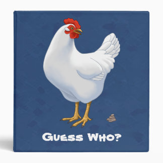 Funny Guess Who Chicken Poo White Hen 3 Ring Binders