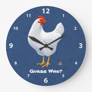 Funny Guess Who Chicken Poo White Hen Wall Clock