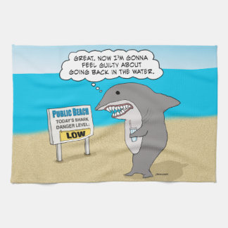 Funny Guilty Shark on Beach Kitchen Towel