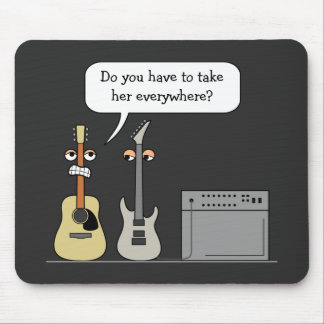 Funny Guitar Third Wheel Cartoon Scene Mouse Pad