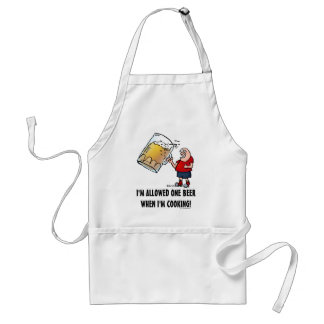 Funny Guy With Just One BIG Beer Adult Apron