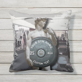 Funny Gym Owner Fitness David Holding Weight Throw Pillow