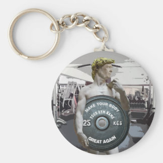 Funny Gym Workout David As Donald Trump Half Body Basic Round Button Keychain