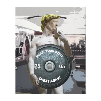 Funny Gym Workout David As Donald Trump Half Body Canvas Print
