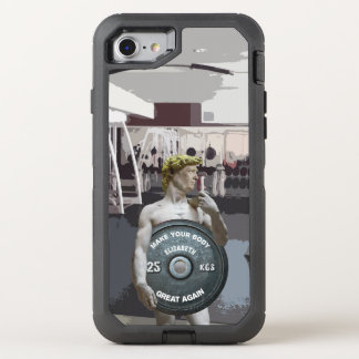Funny Gym Workout David As Donald Trump Half Body OtterBox Defender iPhone 8/7 Case
