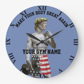 Funny Gym Workout Donald Trump Dumbbell And Pants Large Clock