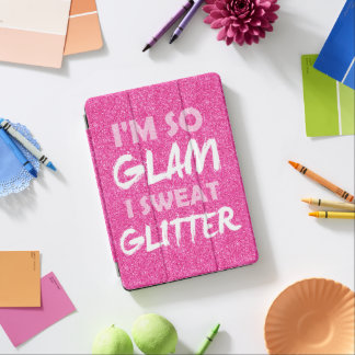 Funny gym workout quote Pink glitter I'm so glam iPad Air Cover