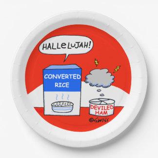 Funny Hallelujah Cartoon Christian Church Picnic 9 Inch Paper Plate