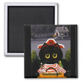 Funny Halloween Black Cat Mouse Creationarts Magnet