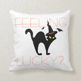 Funny Halloween Black Cat Orange White Throw Pillow