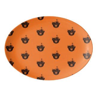 Funny Halloween - Burned Skull Pattern Porcelain Serving Platter