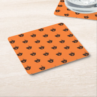 Funny Halloween - Burned Skull Pattern Square Paper Coaster