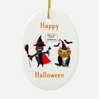 Funny Halloween Cat and Kitten Oval Ornament