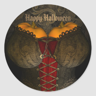 Funny Halloween Gothic Corset Classic Round Sticker