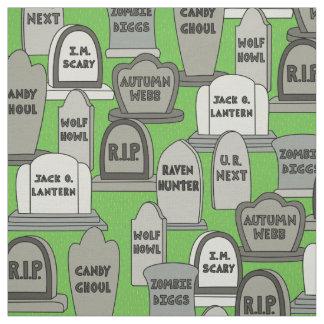 Funny Halloween Gravestones Fabric