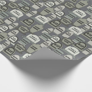 Funny Halloween Gravestones on Gray Wrapping Paper