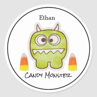 Funny Halloween Monster, Candy Corn Trick or Treat Round Sticker