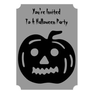 "Funny Halloween pumpkin with cut out face 5"" X 7"" Invitation Card"