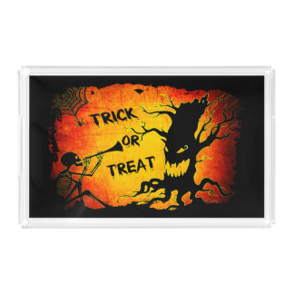 Funny Halloween Skeleton Tree Trick or Treat Acrylic Tray