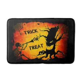 Funny Halloween Skeleton Tree Trick or Treat Bath Mat