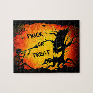 Funny Halloween Skeleton Tree Trick or Treat Jigsaw Puzzle