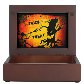 Funny Halloween Skeleton Tree Trick or Treat Keepsake Box