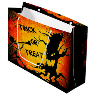 Funny Halloween Skeleton Tree Trick or Treat Large Gift Bag