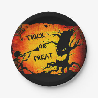 Funny Halloween Skeleton Tree Trick or Treat Paper Plate