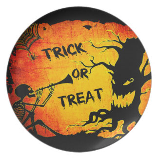 Funny Halloween Skeleton Tree Trick or Treat Plate