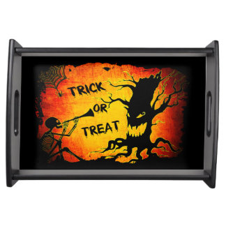 Funny Halloween Skeleton Tree Trick or Treat Serving Tray
