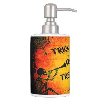 Funny Halloween Skeleton Tree Trick or Treat Soap Dispenser And Toothbrush Holder