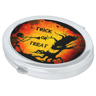 Funny Halloween Skeleton Tree Trick or Treat Travel Mirrors