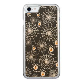 Funny Halloween Spiders and Webs Pattern Carved iPhone 8/7 Case