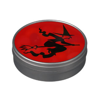 funny halloween witch on broomstick