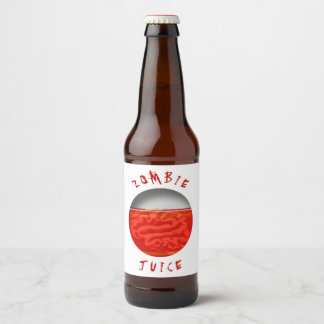 Funny Halloween Zombie Juice Brains Beer Bottle Label