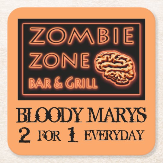 Funny Halloween Zombie Zone Bloody Marys Square Paper Coaster