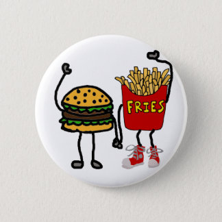 Funny Hamburger and French Fries Cartoon Art 2 Inch Round Button